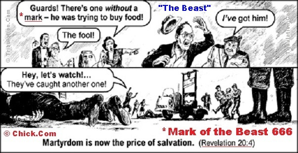 Visit this link to purchase 'The Beast' tract from Chick.Com.  This free advertisement sponsored by Tribulation.Com.