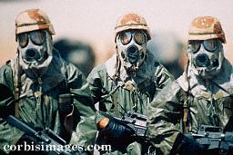 US Troops in biological / chemical warfare gear