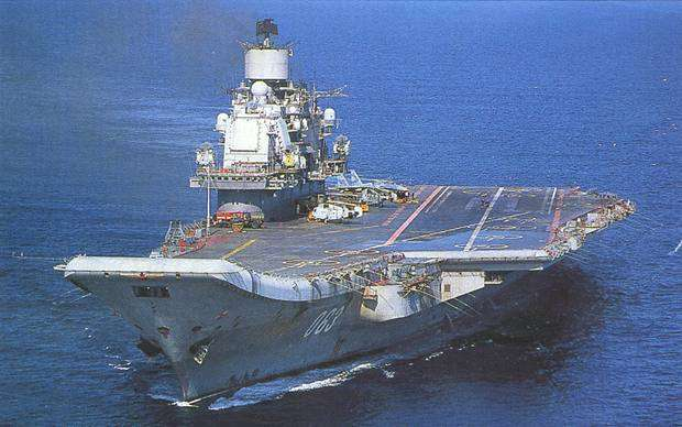 "Russian ""Admiral Kuznetsov"" Class Diesel-powered Aircraft Carrier with SU-33 Flanker Naval Fighter Jet on Deck"