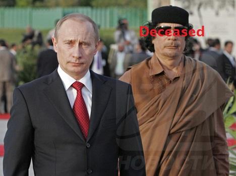 Russian president Vladmir Putin with Libya's Colonel Qaddaffi