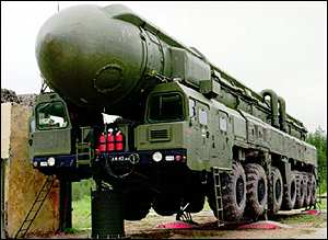 Russian SS-25 Topol Mobile Nuclear ICBM (8,300km range = about 5,160 miles) with 500 kiloton warhead - 333 units deployed